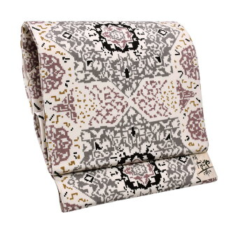 "9 sun of pure silk fabrics Nagoya style sash ""cloth of white background geometry gray"" newly made Nagoya style sash drum pattern joke zone Nagoya style sashes casual lady's joke zone"
