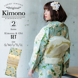 "A washable kimono set ""a lined kimono kimono: cherry tree light blue + Kyoto double-woven obi is two points of set size S/M/L/TL/LL coordinates finished kimono set fine pattern Lady's kimonos of white cat KIMONOMACHI original kimono and the obi of the su"