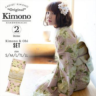 """A washable kimono set """"a lined kimono kimono: cherry tree pink + Kyoto double-woven obi is two points of set size S/M/L/TL/LL coordinates finished kimono set fine pattern Lady's kimonos of white cat KIMONOMACHI original kimono and the obi of the sun"""""""