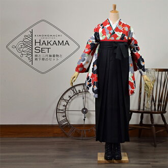 "Three points of hakama set graduation ceremony woman sets ""two shaku sleeves: cream camellia + hakama: black + underpants Zone is a red, green, yellow, pink"" lady's hakama set two shaku sleeve kimono set kimono graduation two shaku sleeve hakama"