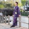 "Yukata one piece of article gentleman yukata yukata yukata for the yukata men man summer clothes thing polyester ""Ichimatsu doll purple"" big size 3L/4L man yukata one piece of article polyester yukata man"