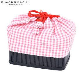 竹籠 巾着単品 「白×ピンク チェック」 浴衣巾着 巾着バッグ きんちゃく 夏祭り、花火大会に 【メール便不可】