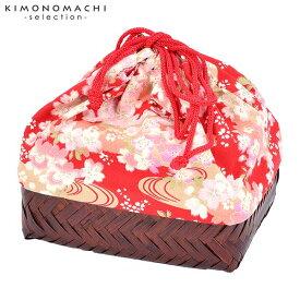 竹籠 巾着単品 「赤地 流水に桜」 浴衣巾着 巾着バッグ きんちゃく 夏祭り、花火大会に 【メール便不可】