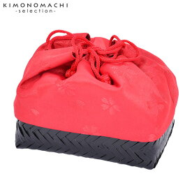 竹籠 巾着単品 「赤地 桜」 浴衣巾着 巾着バッグ きんちゃく 夏祭り、花火大会に 【メール便不可】