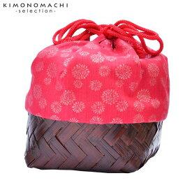 竹籠 巾着単品 「赤地 水玉」 浴衣巾着 巾着バッグ きんちゃく 夏祭り、花火大会に 【メール便不可】