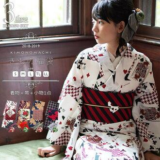 기모노 복주머니 3점 세트겹옷 옷(기모노)+경대대+를 좋아하는 소품 1개 사이즈 S/M/L/TL/LL레이디스 키모노 씻을 수 있는 옷(기모노) 세트 code03
