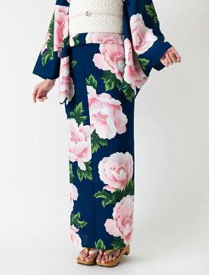 【レディース浴衣】「アネモネ」紺地花柄ポリエステルセオα