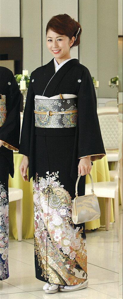 【レンタル】桂由美 黒留袖 「花の訪れ」 フルセット MS/MLサイズ yumi-katsura-2 黒留袖レンタル 留袖レンタル