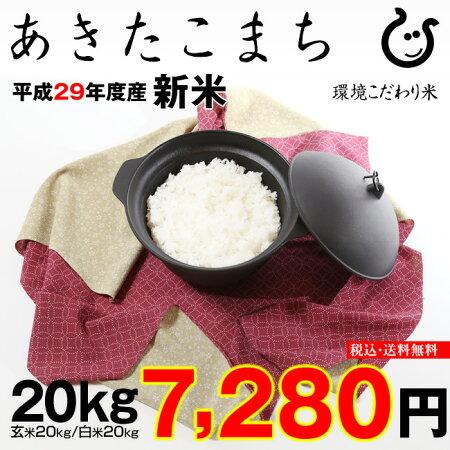 あきたこまち環境こだわり米玄米のまま20kgもしくは精米済み白米20kg【平成29年・滋賀県産】【送料無料】(ゆうパックに限る)