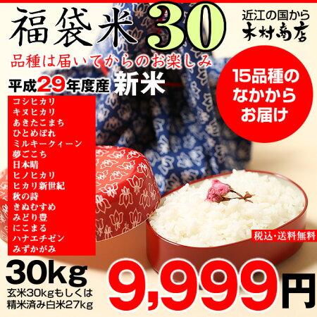 【福袋30】玄米のまま30kgもしくは精米済み白米27kg【平成29年・滋賀県産】【送料無料】1袋でのお届けとなります!