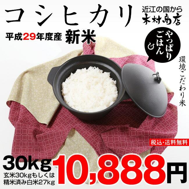 【新米!】コシヒカリ 環境こだわり米 玄米のまま30kgもしくは精米済み白米27kg【平成29年・滋賀県産】【送料無料】