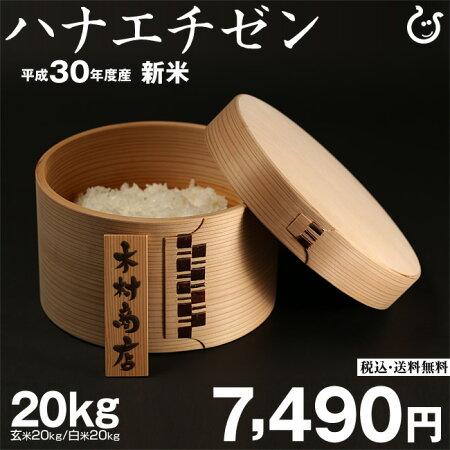 【新米!】ハナエチゼン玄米20kgもしくは精米済み白米20kg送料無料【平成30年・滋賀県産】