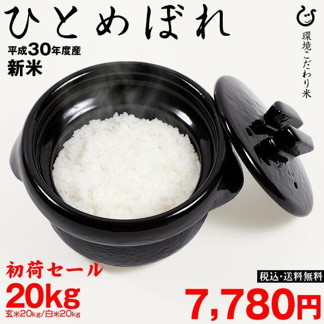 【初荷セール】新米! ひとめぼれ 環境こだわり米 玄米のまま20Kgもしくは精米済み白米 20Kg【平成30年:滋賀県産】