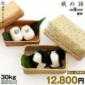 新米!【令和元年:滋賀県産】秋の詩 環境こだわり米 玄米のまま30kgもしくは精米済み白米27kg