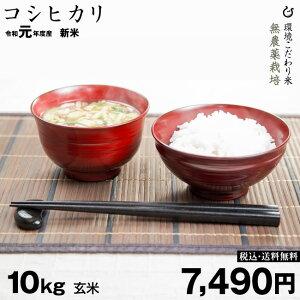 特A 無農薬栽培 コシヒカリ 環境こだわり米 玄米 10kg 送料無料