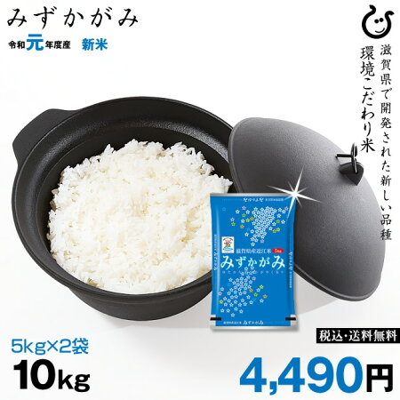 新米!【令和元年:滋賀県産】みずかがみ10kg(5kg×2袋)環境こだわり米【送料無料】