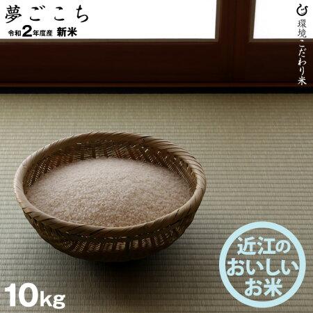 新米!【令和元年:滋賀県産】夢ごこち10kg環境こだわり米
