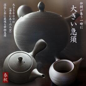 大きい急須 常滑焼 深蒸し茶用帯網急須春秋 600cc湯呑5〜6杯分 とこなめ焼