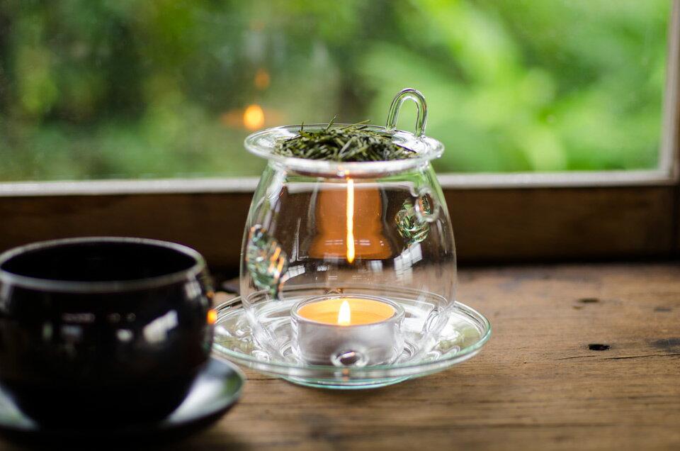 茶香炉 耐熱ガラス製 (キャンドル一個付) ギフトラッピング可深蒸し茶 深蒸し掛川茶 掛川深蒸し茶【ab】 【asr】