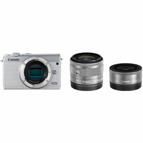 【お一人様1台限り】【納期約1〜2週間】EOSM100WH-WLK canon キヤノン ミラーレスカメラ「EOS M100」ダブルレンズキット(ホワイト) EOSM100WHWLK