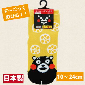 【日本製・くまモンのび〜るくつ下・10-24cm・からし蓮根】くまモン くつ下・ソックス・靴下・くつした・靴した・男女兼用・男性用・女性用・こども用・子ども用・子供用・大人用・おとな用・くまモン・熊本・土産・お土産・ご当地・ご当地ソックス・くつ下