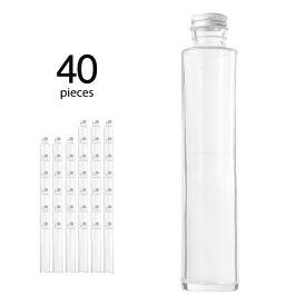 ハーバリウム 瓶 円柱 ストレート 215ml 40個 キャップ付き 【 ハーバリウム 瓶 材料 ガラス容器 ボトル ガラス瓶 ビン キット カートン まとめ買い 業務用 】