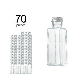 ハーバリウム 瓶 スクエア 114ml 70個 キャップ付き 【 ハーバリウム 瓶 材料 ガラス容器 四角柱 ボトル ガラス瓶 ビン キット カートン まとめ買い 業務用 】
