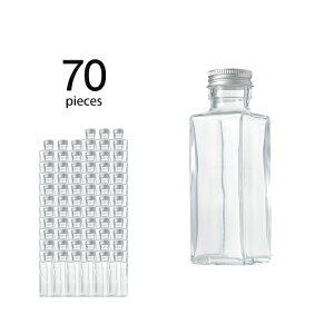 ハーバリウム 瓶 スクエア 114ml 70個 キャップ付き【 ハーバリウム 瓶 材料 ガラス容器 四角柱 ボトル ガラス瓶 ビン キット カートン まとめ買い 業務用 】