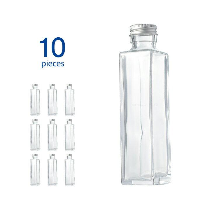 ハーバリウム 瓶 10個 スクエア 164ml キャップ付き 【 ハーバリウム瓶 キット 10本 ガラス容器 ガラス瓶 硝子瓶 角瓶 四角柱 ボトル ビン 150ml おしゃれ ディフューザー 】