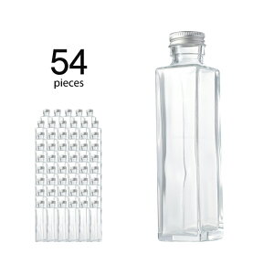 ハーバリウム 瓶 スクエア 164ml 54個 キャップ付き 【 ハーバリウム 瓶 材料 ガラス容器 四角柱 ボトル ガラス瓶 ビン キット カートン まとめ買い 業務用 】