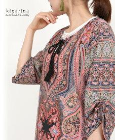 「mori Lady」緻密なペイズリー模様がエスニックな雰囲気を纏う七分袖の総柄チュニックワンピース
