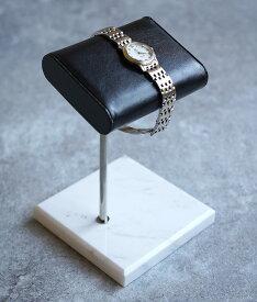「cawaii french」大理石とリアルレザーで飾る腕時計スタンド【ホワイト】【ブラック】【グリーン】