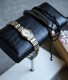 「cawaii french」大理石とリアルレザーで飾る腕時計スタンド(ワイドタイプ)【ホワイト】【ブラック】【グリーン】