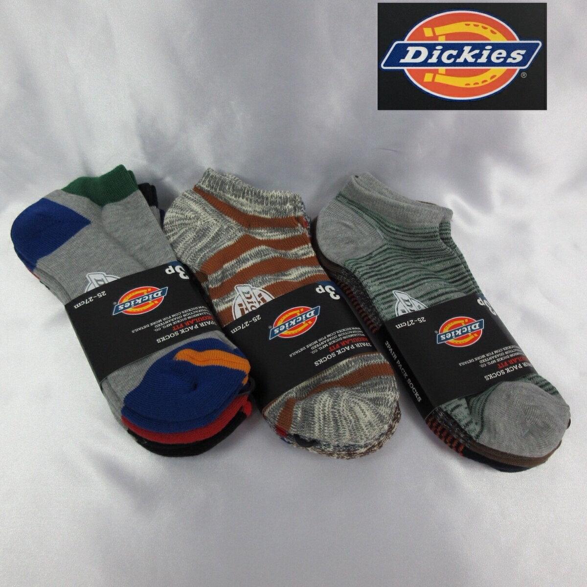 送料無料 Dickies ディッキーズ アンクルソックス 3足セット メンズ靴下 ブランド 3足組 ショート丈 くつした
