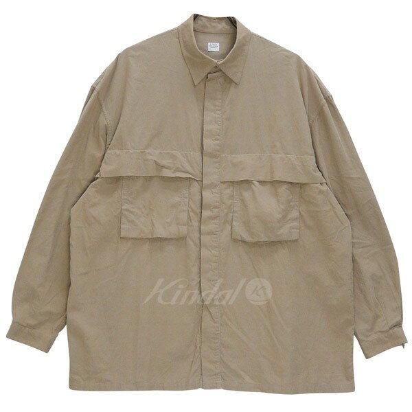 【中古】E.TAUTZ FLAP POCKET SHIRTS corduroy 17AW オーバーサイズシャツ ベージュ サイズ:S 【送料無料】 【170118】(イートウツ)