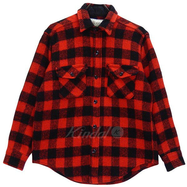 【中古】Melton ウールシャツ 70s ブロックチェック USA製 ビンテージ レッド サイズ:M 【170118】(メルトン)