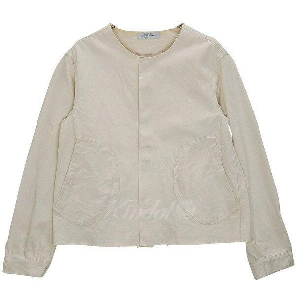 【中古】UNUSED 13.5oz denim cut off jacket US0855 ノーカラージャケット アイボリー サイズ:2 【送料無料】 【210118】(アンユーズド)