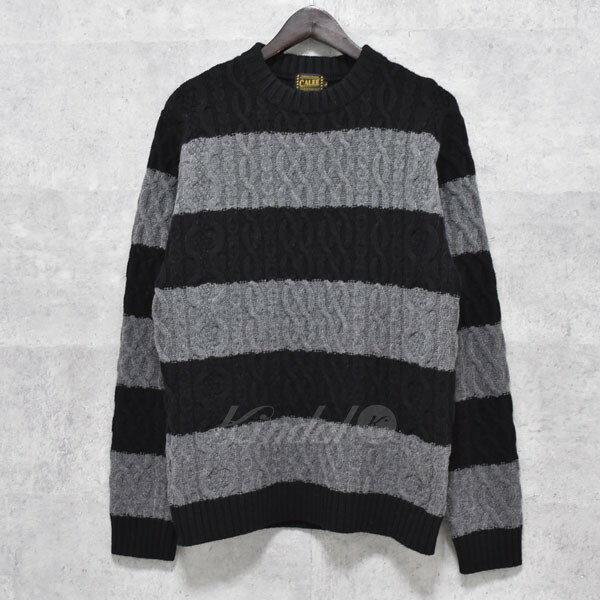 【中古】CALEE Border knit sweater ボーダー柄ケーブル編みニットセーター ブラック×グレー サイズ:L 【送料無料】 【080218】(キャリー)