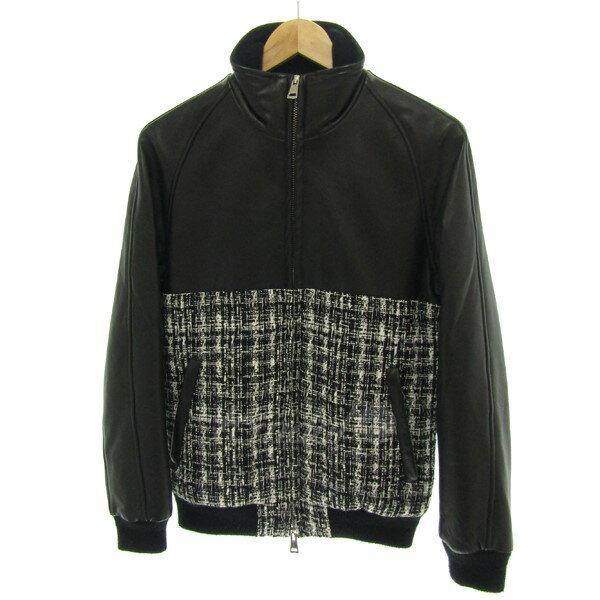【中古】1 piu 1 uguale 3 バイカラートラックジャケット ブラック サイズ:4 【送料無料】 【080218】(ウノ ピュ ウノ ウグァーレ トレ)