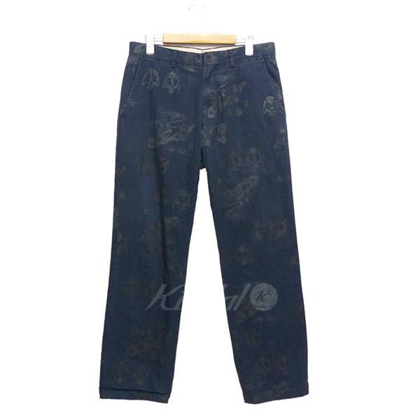 【中古】NEPENTHES Frog Bone Pants 総柄パンツ ネイビー×ダークグレー サイズ:M 【080218】(ネペンテス)
