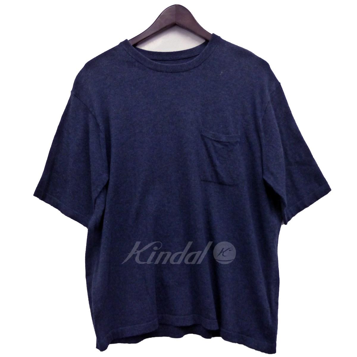 【中古】crepuscule 胸ポケット半袖ニットTシャツ ネイビー サイズ:1 【080218】(クレプスキュール)
