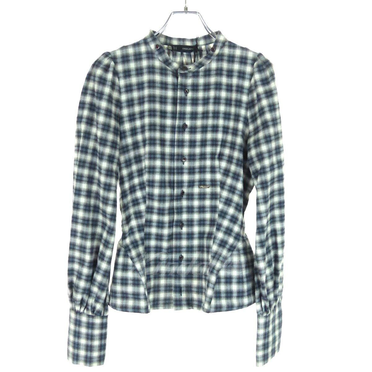 【中古】DSQUARED2 ワイヤーペプラムチェックシャツ 2011A/W ブルー×グレー×ホワイト サイズ:42 【080218】(ディースクエアード)