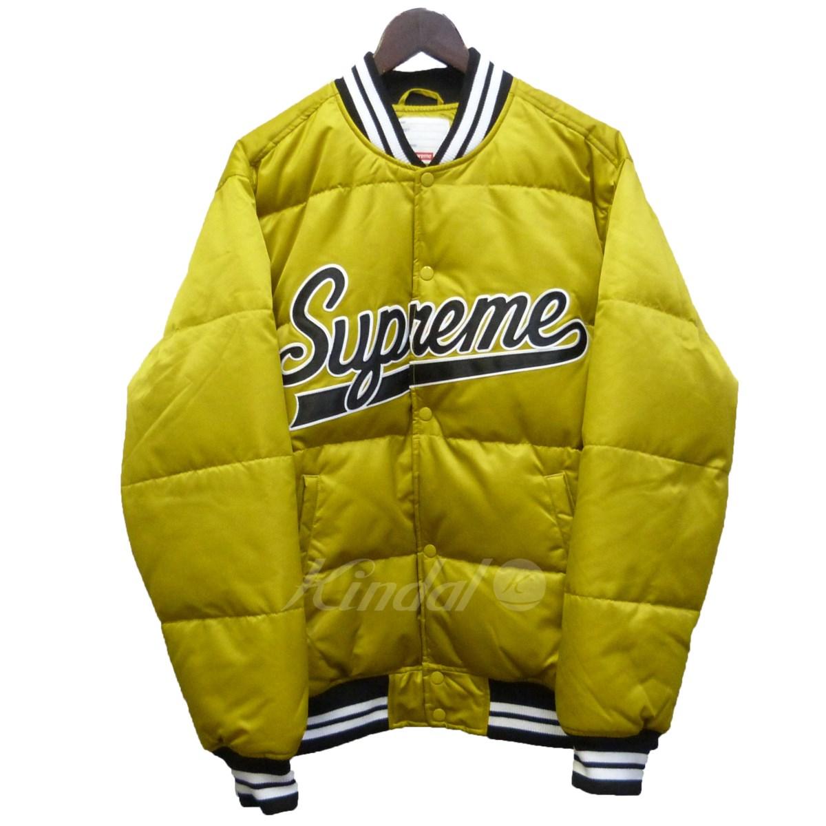 【中古】SUPREME 【16AW】「Script Varsity Puffy jacket」スクリプトロゴジャケット ゴールド サイズ:L 【送料無料】 【080218】(シュプリーム)