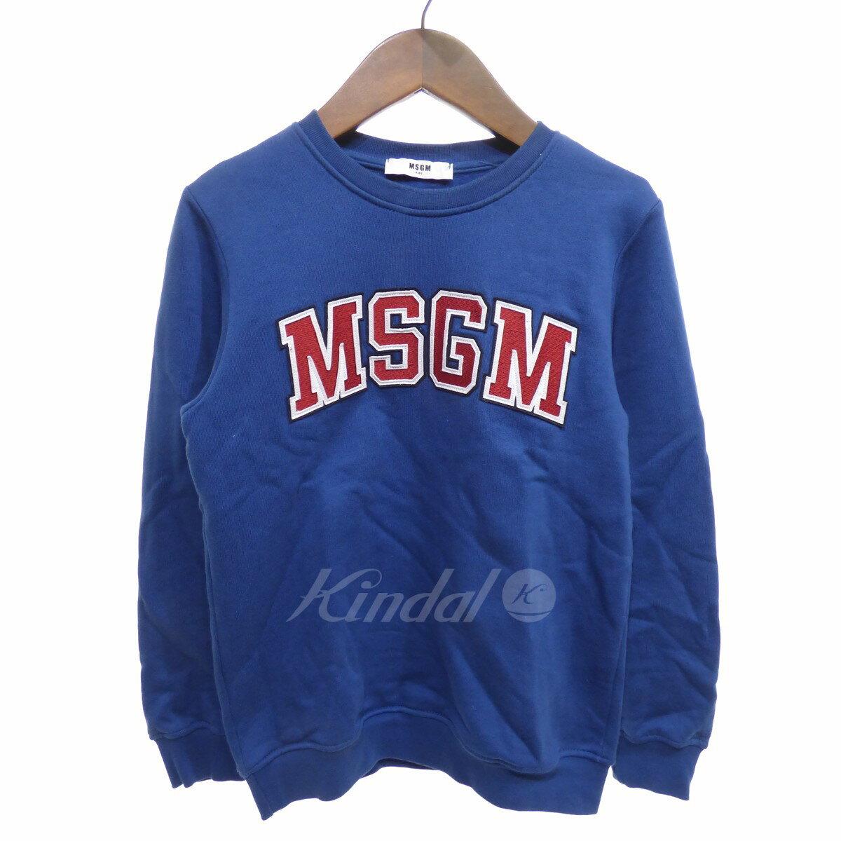 【中古】MSGM ロゴスウェットトレーナー ブルー サイズ:10anni 【送料無料】 【080418】(エムエスジーエム)