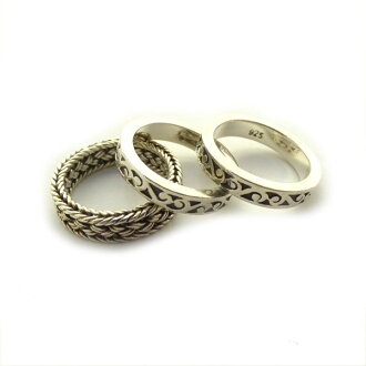 LOIS HILL 「ROPE 3 SET RING」3련실버 링 실버 사이즈:12호(로이스힐)