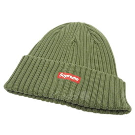 6d7013a01cf50 中古  中古 SUPREME18SS「Overdyed Ribbed Beanie」ボックスロゴニットキャップ オリーブ