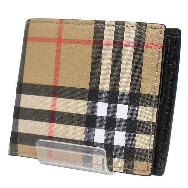 【中古】BURBERRY チェック柄  折り畳み 財布 ベージュ 【送料無料】 【220618】(バーバリー)