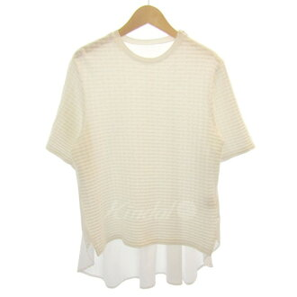 LE CIEL BLEU 2016S/S ジョガード reshuffling flare top white size: 36 (ルシェルブルー)