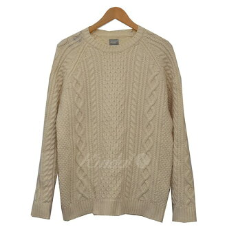 DELUXE deluxe fisherman knit sweater white size: XL (デルークス)
