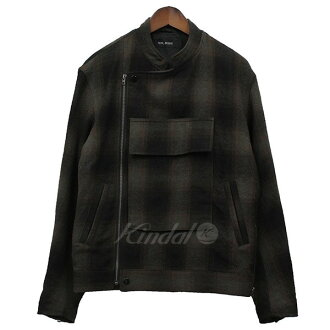 VAINL ARCHIVE ヴァイナルアーカイブ 2016AW UFC-RIDERS-C check riders jacket blouson brown size: S (ヴァイナルアーカイブ)